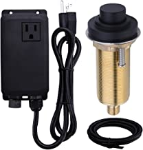 SINKINGDOM SinkTop Air Switch Kit with Matte Black Long Button (Full Brass) for Garbage Disposal, Single Outlet