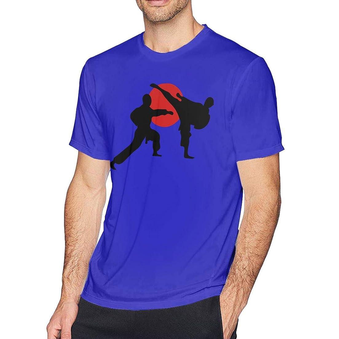 安心させる付録仕事に行く2人の空手道 Tシャツ メンズ クルーネックトップス 半袖 スポーツ トレーニング シャツ 無地 通勤 通学