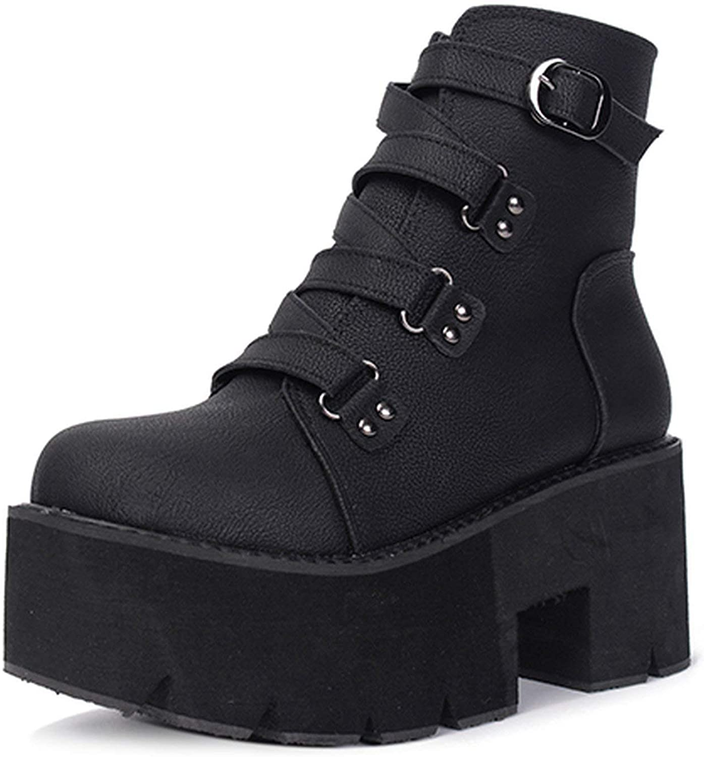 Spring Autumn Ankle Boots Women Platform Boots Rubber Sole Buckle Black Leather PU High Heels shoes