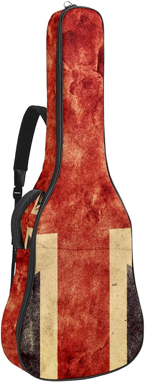 Funda de Guitarra Bandera del Reino Unido vintage Bolso de guitarra 40 41 pulgadas Bolsa de transporte acolchada para guitarra acústica con 2 bolsillos 109x43x12cm