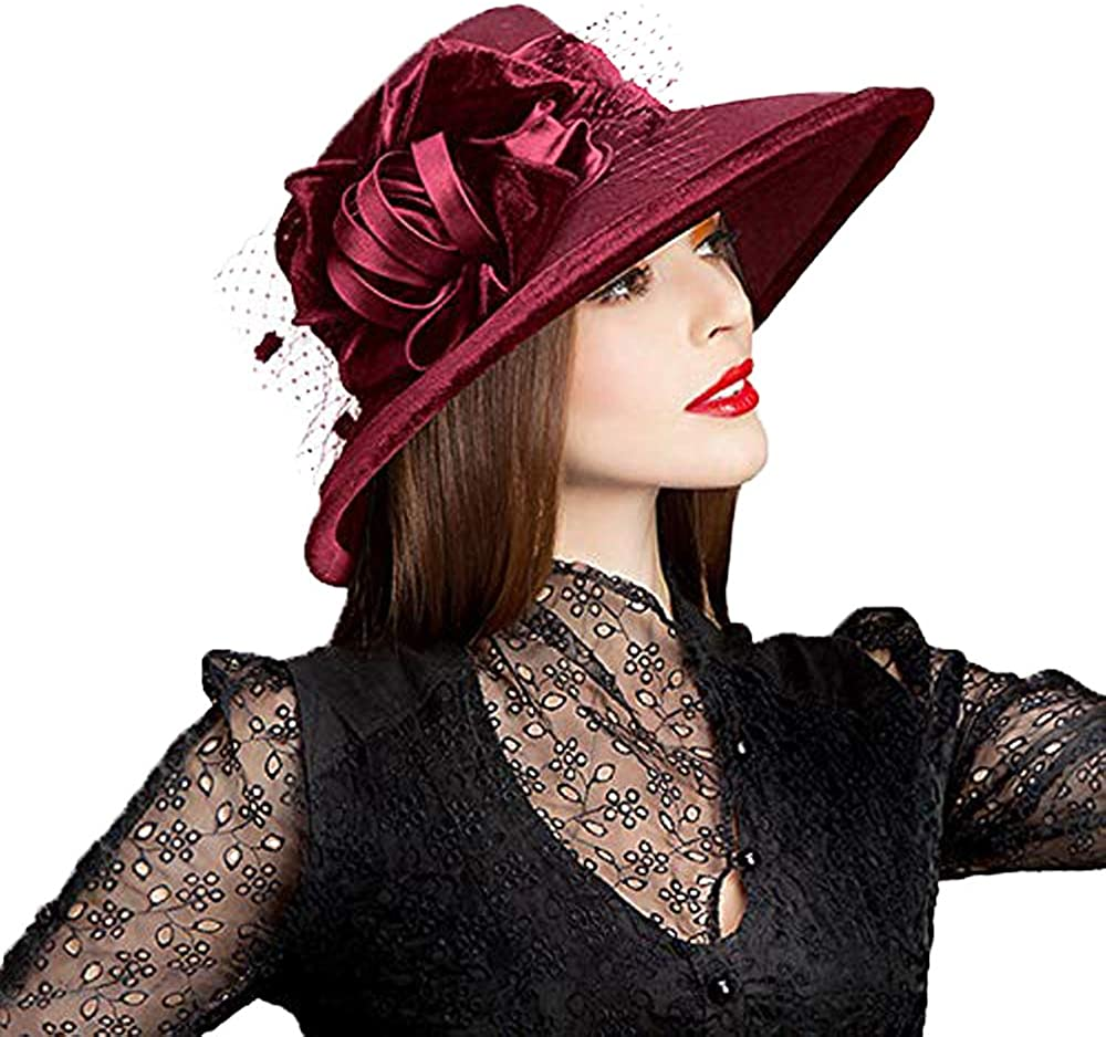 F FADVES Wool Church Bowler Hats Fedoras Large Wide Brim Flower Mesh Gauze Cloche Hat …
