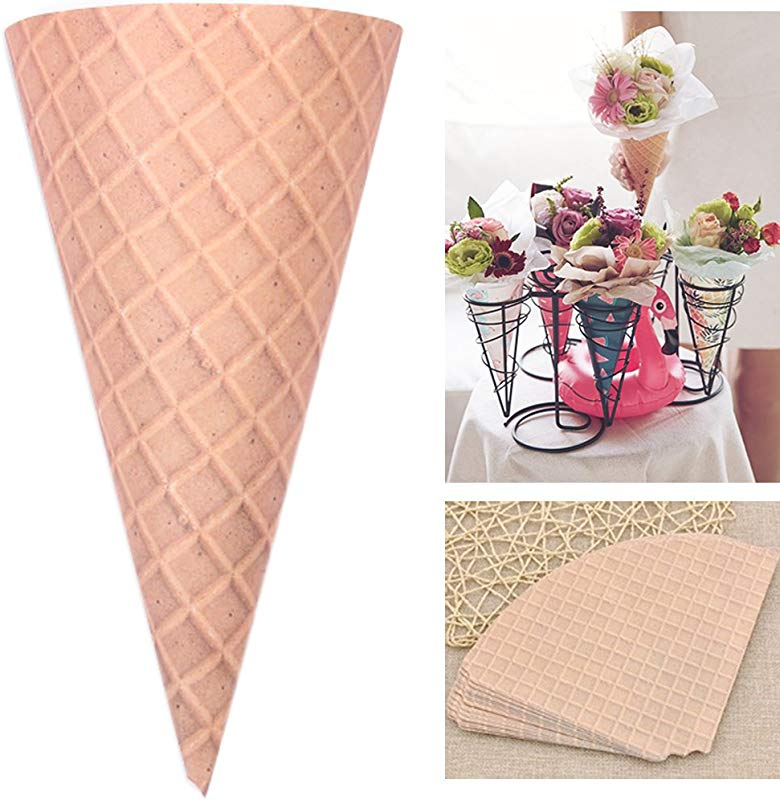 Self Adhesive Flower Packaging Paper Bouquet Wrapper Candy Food Paper Cones From Ocharzy 20 Pcs Brown