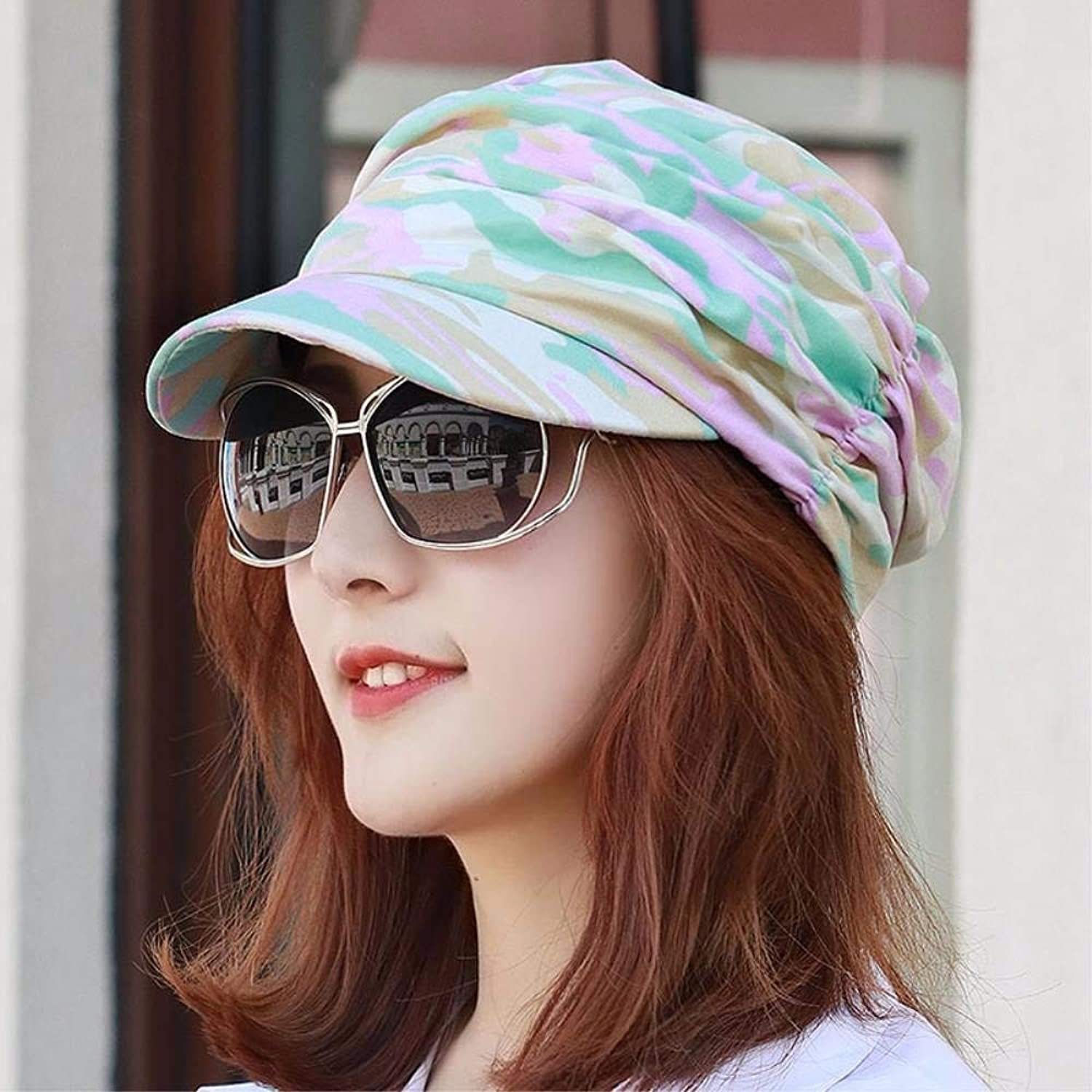 Chuiqingnet Hat female autumn breathable camouflage cap outdoor color Fashion Cap wrinkled skin cap flat top hat Beach