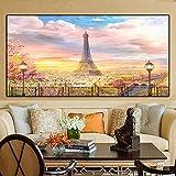 HUANGXLL Paris Street Sunset Landscape Pinturas de Lienzo nórdicas Eiffell Tower Posters e Impresiones Imágenes artísticas de Pared para decoración de Sala de estar-70x140cm-Sin Marco