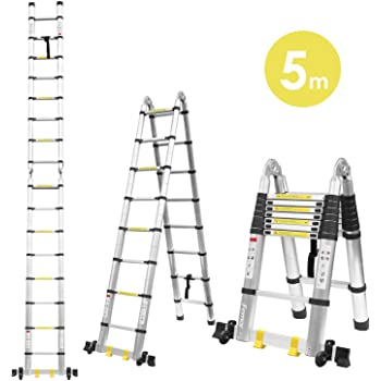 Fixkit 5M(2,5M+2,5m) Escalera Plegable Aluminio, Escalera ...