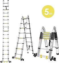Fixkit 5M(2,5M+2,5m) Escalera Plegable Aluminio, Escalera
