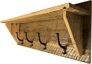 Hope Woodworking Reclaimed Barnwood Coat Shelf, Amish Made, Solid Oak Rustic Custom, 4 Hook