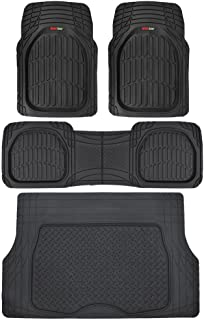 Motor Trend 4pc Black Car Floor Mats Set Rubber Tortoise Liners w/ Cargo for Auto SUV Trucks - All Weather Heavy Duty Floor Protection - MT-923-BK+MT-884-BK_amj