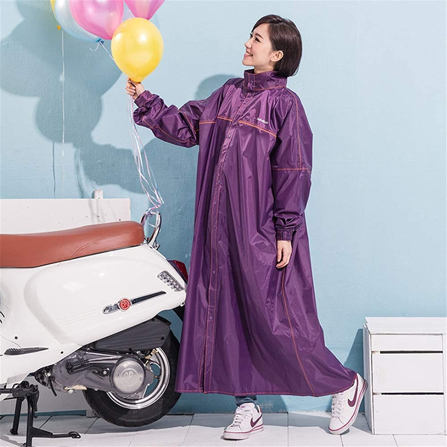 LJGG Raincoat Long Loose Adult Poncho Long Section Windbreaker Male and Female Ride with Sleeve Raincoat (color   Purple, Size   L)