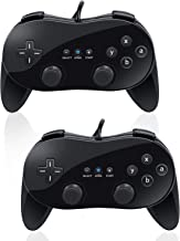 VOYEE Wii Classic Controller Pro, 2 Packs Controllers for Nintendo Wii Console, Gampad Gaming Pad Joypad Standard Edition (Black)