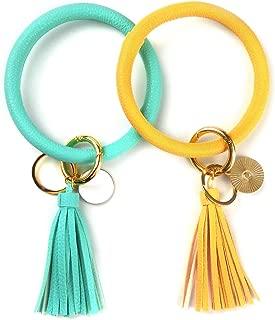 2pcs Wristlet Keychain Bracelet Bangle Keyring, Circle Key Ring Leather Tassel Bracelet Holder For Women Girl