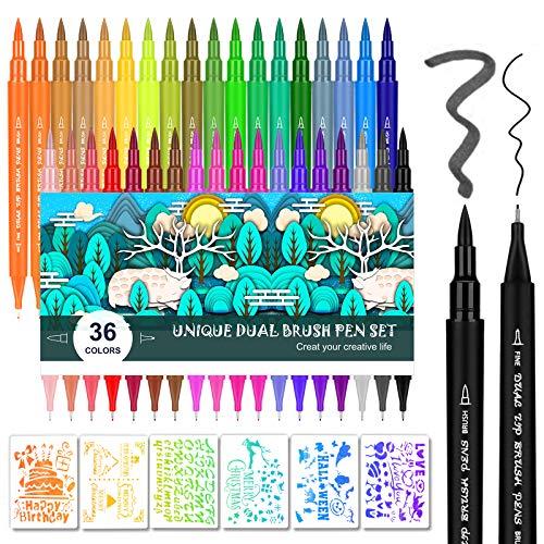Rotuladores Punta Pincel, Emooqi 36 Colores Dual Tip Brush Pen Niños Libros Para Colorear Caligrafía Dibujo Toma De Pincel Acuarelables Marcadores Caligrafía Lettering