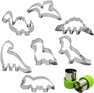 Dinosaur Cookie Cutter Set 7 Pcs - Stegosaurus/Dinosaur baby/T-Rex/Leaellynasaura/Triceratops Mould, AFUNTA Stainless stee...