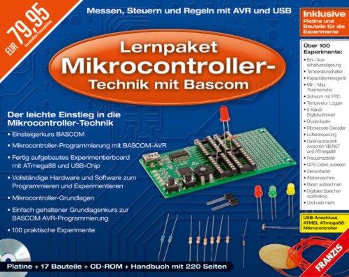 Lernpaket Mikrocontroller-Technik mit Bascom, KSF, Platine, Mikrocontroller, USB-Kabel, Bauteile, Software, Handbuch