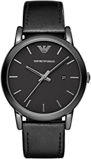 Emporio Armani Men's Black Dial Leather Band Watch - AR1732