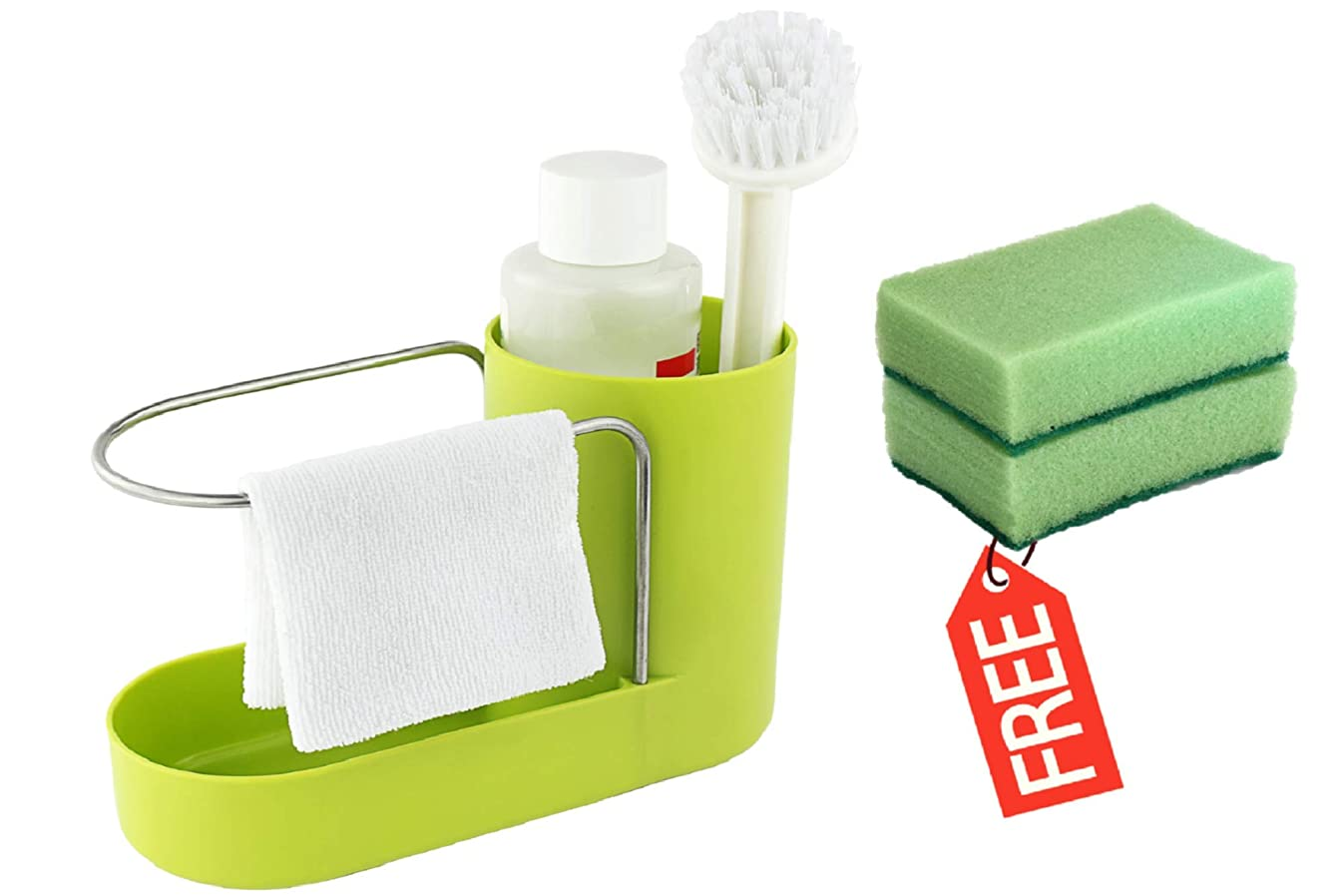 Convenient Kitchen Sink Organizer, Sink Caddy, Sinkware, Sponge Holder, Soap Dish, Brushes and Scrubbers Holder, Bathroom Caddy, Bathroom Organizer   2 Top Quality Sponges FREE