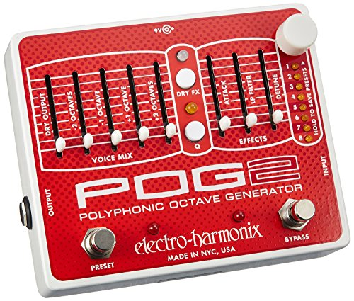 electro-harmonix POG2 Polyph.Octave POG II Pedal - Pedal multiefecto para guitarra, color plateado