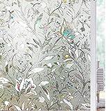 LMKJ Flor de tulipán 3D estática Decorativa privacidad película de Vidrio para Ventana Vinilo sin Pegamento película de Vidrio Decorativa para el hogar A34 30x200cm