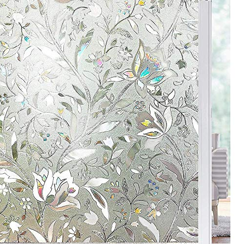 N / A Tulip flower 3D static cling film, decorative privacy glass window film, vinyl glue-free laser film, used in home decoration film such as bedroom and kitchen A19 50x200cm