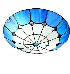 """Stile tiffany 3 Luci Plafoniera, Flush mount Tondo Bicchiere Paralume Lampada a soffitto 20"""" Camera da letto Soggiorno Corridoio Navata-50x50cm"""