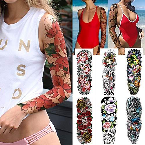 6 Stück Vollarm Tattoo Große Wasserdichte Gefälschte Tätowierung Blume Lotus Temporäre Tattoo Aufkleber Jesus Gefälschte Leichte Frauen Arm Tattoo