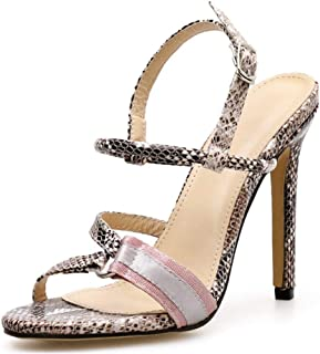BIAN Heeled Sandals for Women Heel Stilettos Open Toe Ankle Strap Synthetic Leather Party Snakeskin with Metal Ring Backless