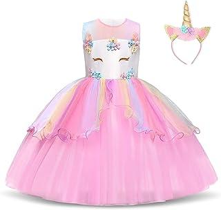 Chicas Unicornio Fancy Vestido Princesa Flor Desfile de Niños Vestidos sin Mangas Volantes Vestido de Fiesta