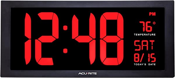 AcuRite 75100 Large Digital Clock With Indoor Temperature LED Wall Clock With Date And Fold Out Stand 18