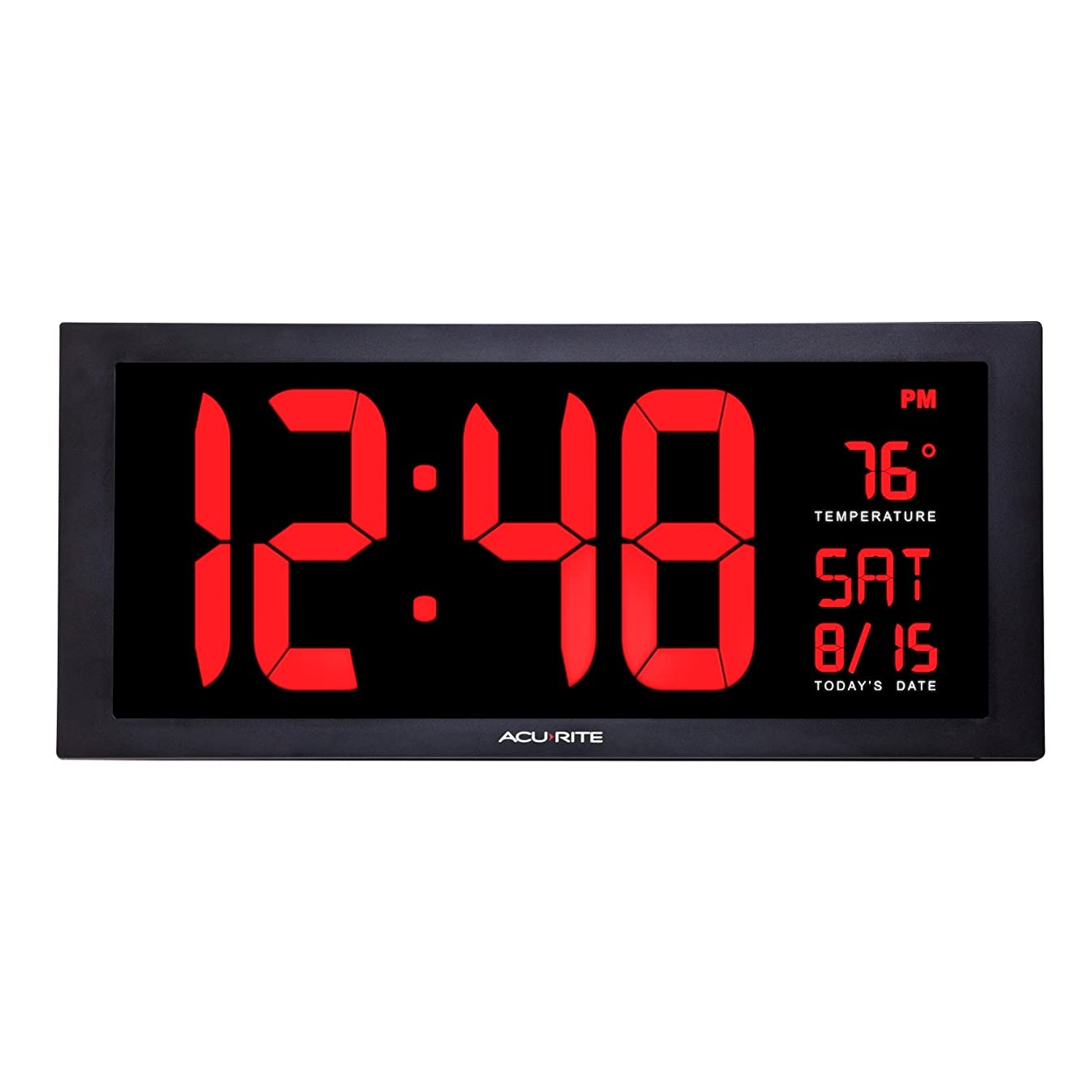 AcuRite 75100 Large Digital Clock with Indoor Temperature | LED Wall Clock with Date and Fold-Out Stand - 18