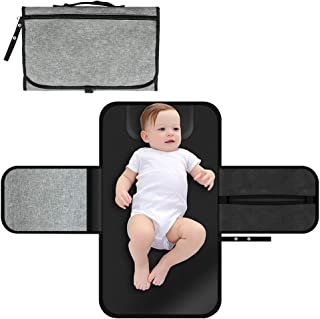 Portable Baby Changing Pad Diaper Bag Waterproof Travel Mat Station Portable Changing Mat Grey Diaper Changing Pad for Baby Diapering Entirely Padded Diaper Clutch with Memory Foam Baby Head Pillow &