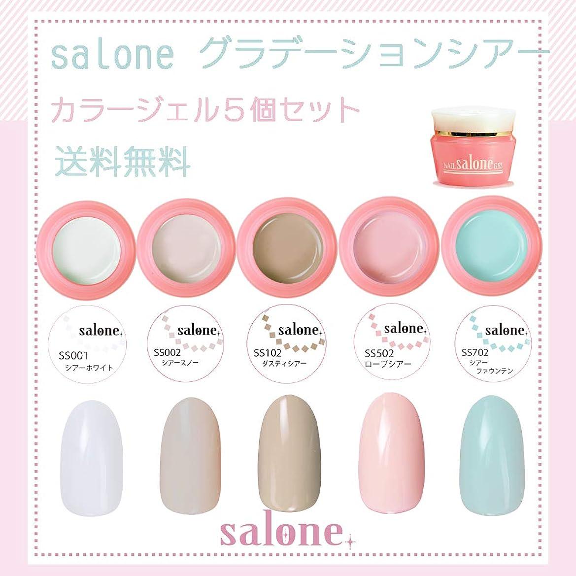 デザイナー愛する逆さまに【送料無料 日本製】Salone グラデーションシアー カラージェル5個セット グラデーションにもピッタリなカラー