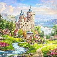 数字で描くDiyの絵大人の絵筆と子供、子供、高齢者、初心者のための数字で描かれた絵の具セット、キャンバスにセットされた城のアクリル絵の具