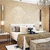 KeTian moderno minimalista 3D Rose Flower non tessuto profondo rilievo strutturato camera da letto soggiorno carta da parati rotolo beige colore 0.53 m (1.73 'W) x 10 m (32.8' L) = 5.3m2 (57 sq.ft)