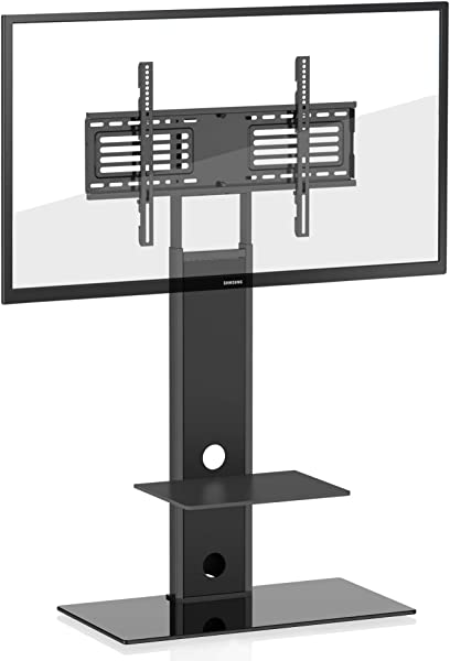 FITUEYES Universal TV Stand Swivel Mount Height Adjustable Two Shelves 32inch To 65inch TV TT207501MB