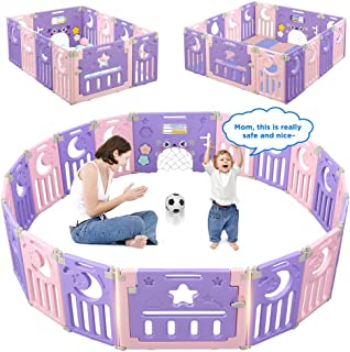 Baby Playpen, Dripex Foldable Kids Activity Centre Safety Play Yard Extendable NO Gaps Home Indoor Outdoor Baby Fence Play Pen with Gate for Baby Girls Boys Toddlers (14-Panel, Pink + Purple)