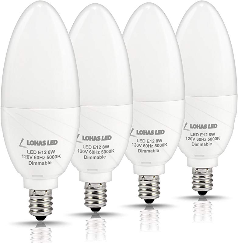 LOHAS Dimmable Candelabra Bulb LED 5000K Daylight E12 Candelabra Base Light LED 75W Light Bulbs Equivalent 8W 750 Lumens Kitchen Chandelier Light For Lamp Fixtures 120 Volts Pack Of 4