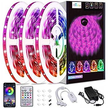50ft Led Strip Lights Tenmiro Smart Led Light Strips Music Sync Color Changing LED Lights App Control Led Lights for Bedroom Party Home Decoration