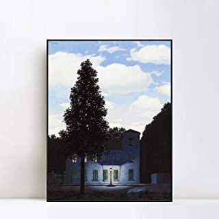 INVIN ART Framed Canvas Giclee Print Art The Empire of Lights 1954 by Rene Magritte Wall Art Living Room Home Office Decorations(Black Slim Frame,24