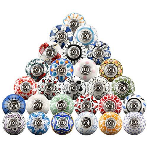 20 pomelli misti in ceramica vintage per armadietti, cassetti e maniglie (rotonde01)