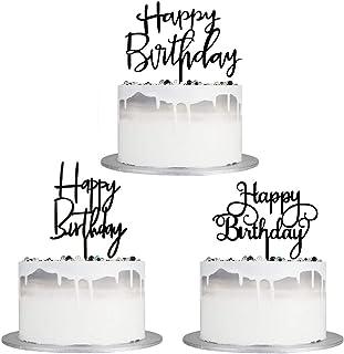 مجموعه شیرینی کیک تولدت مبارک Autude Black ، شیرینی های کیک تولدت مبارک اکریلیک دو طرفه / بالش کیک مخصوص کودکان یا بزرگسالان (3 عدد)