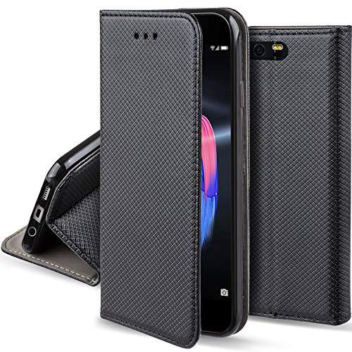 Moozy Coque a Rabat pour Huawei Honor 9, Noir - Housse Étui Fin Smart Magnétique avec Porte-Cartes et Support