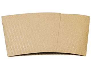 Shapenty Disposable Blank Paper Tea Beverages Coffee Cup Sleeves Fits Protective Corrugated Jacket Holder Cardboard Cafe Cold Hot Drinks Insulator for 12oz./16 oz, 50PCS