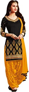 Cloth Clock Women's Crepe Printed Unstitched Salwar Suit Dress Material (Free Size_Black Yellow)