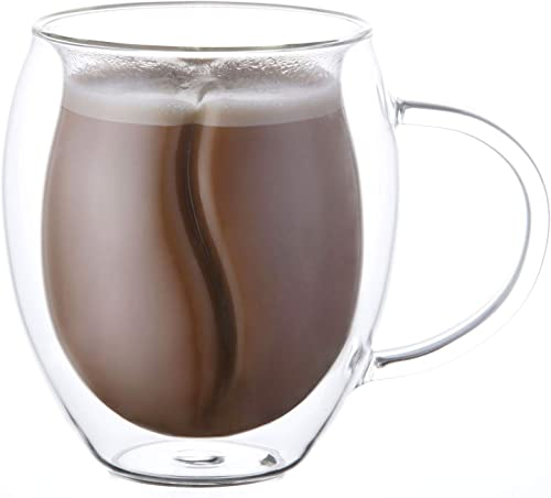 discount Yueshico Insulated Coffee Mugs -- Double Wall Glass Coffee Mugs Clear Glass Coffee popular Cups online 12.7 Oz with Handles for Hot Beverages Cappuccino, Latte, Big Tea Cup. Glass Cups Best Coffee Gifts outlet sale