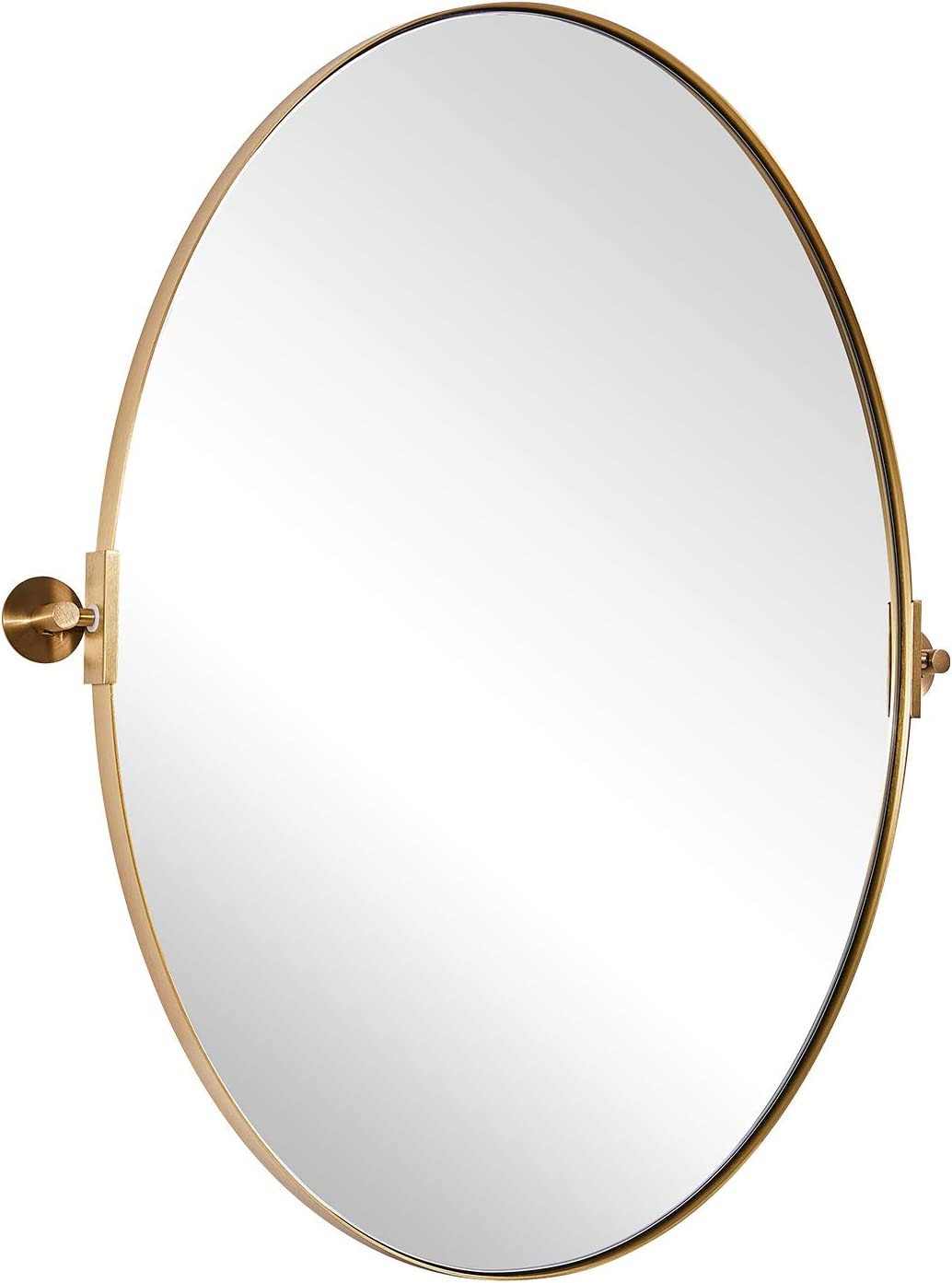 """MOON MIRROR Vanity Wall Mirror, 22x30 Brushed Gold Oval Bathroom Mirror in Stainless Steel Frame 1"""" Deep Set Design, Wall Mounted Mirror Hangs Vertical: Home & Kitchen"""