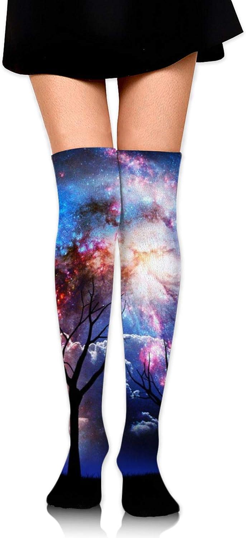 SWEET TANG Women Girl Over Knee Thigh High Socks Plus Size Tube Leg Warmers Stocking Cosplay Long Solid Leggings Sock (Galaxy Tree Starry Night)