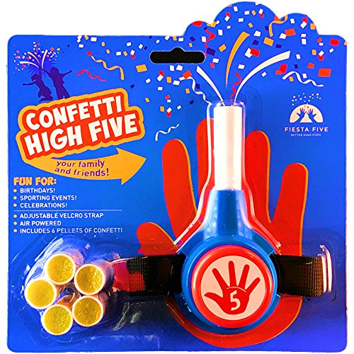 FiestaFive - Confetti High Five HandHeld Toy Shooter with 6 Refills (Red/White/Blue)