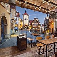 ヨーロピアンスタイル3Dステレオタウンストリート壁画壁紙リビングルームレストランカフェ背景壁紙の装飾-300x210cm