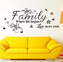 Ouniman Family Wall Art Letter Sayings Vinyl Quote Sticker,Flowers Wall Decal Art Mural Home Living Room Bedroom Decor 30