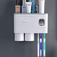 Wekity Multifunctional Wall-Mounted Toothbrush Holder, Automatic Toothpaste Dispenser Space Saving Toothbrush Organizer wi...